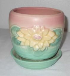 """Hull Pottery, Water Lily, 1948. Flower pot w/saucer, L-25-5-1/4""""."""