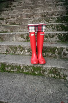 Rainy Day Style SLUGS Fleece Rain Boot Liners Black With Plaid Cuff by WithTheRain a must have for Hunter Rain Boots