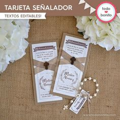 Tarjetas para imprimir estilo rústico Decoration Communion, Morse Code Bracelet, First Holy Communion, Funeral, Special Events, Diy And Crafts, Place Card Holders, Baby Shower, Invitations
