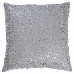 "Sequined cotton pillow.  Product: PillowConstruction Material: Cotton cover and siliconized polyester fiber fillColor: GreyFeatures:  Insert includedZipper closure Dimensions: 18"" x 18""Cleaning and Care: Hand wash in cold water with mild detergent"