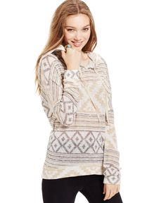 Its Our Time Juniors' Marled Aztec Hoodie Sweater