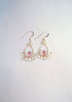 GEMSTONE AAA mystic pink  quartz green amethyst 1 pair by idooidoo, $56.00