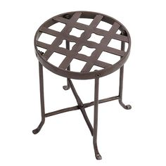 ACHLA Designs Flowers 12-in Roman Bronze Indoor/Outdoor Round Wrought Iron Plant Stand