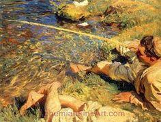 John Singer Sargent, Val d'Aosta: Man Fishing Fine Art Reproduction Oil Painting