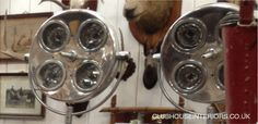 a pair of Antique Metal 4-point Spotlights on stands. Chrome Lights, Vintage Spotlamps, Restored Lighting, Antique Lights. - Clubhouse Inter...