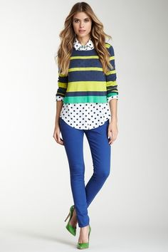 Romeo & Juliet Couture colored jean-true blue. navy polka dot button up. striped cropped sweater
