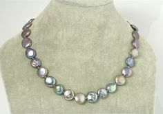 Metallic Peacock genuine pearl necklace  w/ coin pearl by RIPEARLS