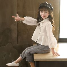 Autumn Baby Blouses and Plaid Pants Fashion Girls Set – I sell what I love - Children's fashion Baby Girl Dress Patterns, Dresses Kids Girl, Little Girl Outfits, Little Girl Fashion, Toddler Outfits, Baby Dress, Kids Fashion, Girls Pants, Fashion Wear