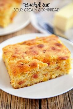 """Cracked Out"" Sour Cream Cornbread - quick cornbread recipe kicked up with…"