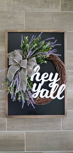 Lavender Wreath with a Bow and Greeting