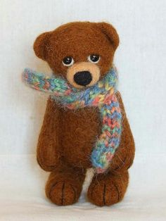 . Needle Felted Animals, Felt Animals, Bear Felt, Wool Felt, Felted Wool, Needle Felting Tutorials, Disney Scrapbook Pages, My Teddy Bear, Cute Bears