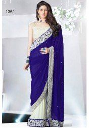 Designer Blue And White Georgeet Saree by Vendorvilla