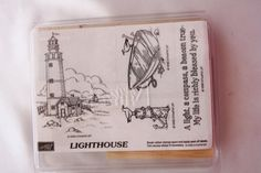 Lighthouse Set of Four Mount Rubber Stamp Set B63 Retired Stampin Up 1998 Seagull Rowboat Anchor Ocean Pier Nautical Verse Beach