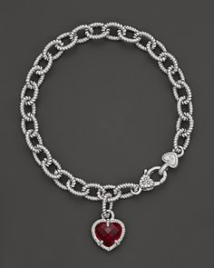 Judith Ripka Sterling Silver Single Heart Charm Bracelet with Lab-Created Red Corundum   Bloomingdale's