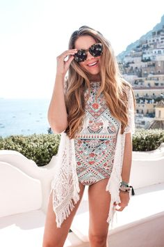 One piece swimsuit with fringe coverup