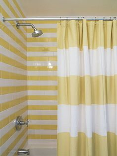 West Elm Stripe Shower Curtain with matching striped tile - I LOVE it! Just bought this shower curtain in grey for our spare bathroom! Bathroom Tile Inspiration, Amazing Bathrooms, Bathroom Design, Yellow Bathrooms, Striped Shower Curtains, Striped Walls, Striped Tile, Trendy Bathroom, Tile Inspiration