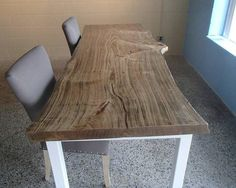 Live-Edge Cottonwood Dining / Conference Table for 8 - 10 persons w/ square tubular steel base