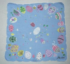 VFK FLASH SALE TODAY ONLY $30.00  Vintage Hankie Colorful Easter Egg Hunt Signed by unclebunkstrunk, $37.99