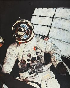 """humanoidhistory:  A portrait of Skylab astronaut Jack Lousma during a spacewalk, painted by Ron Wood, a long-time employee of NASA. More from the source: """"The 'Lousma' oil was painted in 1981. It is an oil on linen cloth, the linen primed with gesso. The image was painted from a NASA photo, one of my favorites from the Skylab missions."""