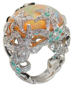 Mathon Paris 'Océane' ring in White gold with Diamonds, Wollo opals and Paraiba tourmaline - Don't be tricked when buying fine jewelry! Follow the vital rules at http://jewelrytipsnow.com/a-simple-guide-to-purchasing-fine-jewelry/