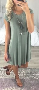 Summer Outfits You Should Already Own – Page 2 of 3 / pastel green dress Stylish Summer Outfits, Spring Outfits, Casual Outfits, Cute Outfits, Dress Outfits, T Shirt Dresses, Winter Outfits, Tshirt Dress Outfit, Dress Ootd