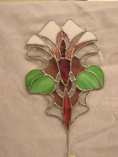 Stained Glass Flower Art Nouveau Sun Catcher