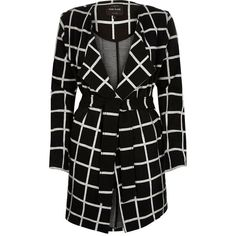 River Island Black check jersey belted jacket ($110) ❤ liked on Polyvore featuring outerwear, jackets, belted / wrap coats, black, coats / jackets, women, long sleeve jacket, belted jacket, drape front jacket and river island