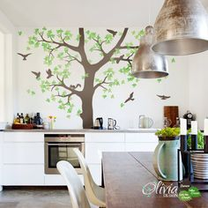 Large White Tree Wall Vinyl Decal With Birds by theOliviaDesign