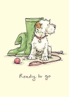 'Ready to go'. Illustration by Anita Jeram Cartoon Cartoon, Cartoon Dog Drawing, Cute Drawings, Animal Drawings, Wire Fox Terrier, Bull Terriers, Children's Book Illustration, Animal Illustrations, Dog Art