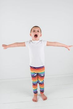 Colorful Rainbow kids Leggings with Clouds | The Retro Rainbow leggings are designed to encourage toddler learning, outdoor kids activities and educational play without boundaries. The fun Rainbow kids leggings are for babies, infants, toddlers and children.  Its perfect for a kids tea party, holiday outfits, back to school outfits, birthday party outfit, casual play clothes, summer kids clothes or winter kids fashion. #toddlerclothes #toddlerfashion #kidsfashion #leggings #kidsclothes