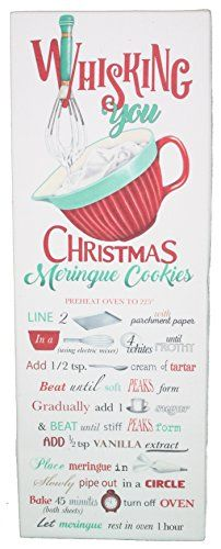 Whisking You Christmas Meringue Cookies Flour Sack Towel Christmas Food Gifts, Holiday Snacks, Christmas Sweets, Christmas Baking, Christmas Cookies, Holiday Recipes, No Flour Cookies, Meringue Cookies, Retro Recipes
