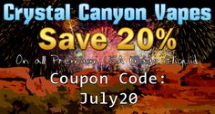 Happy 4th of July! Save 20% on all premium USA made #Eliquid using coupon code: July20 http://www.ccvapes.com