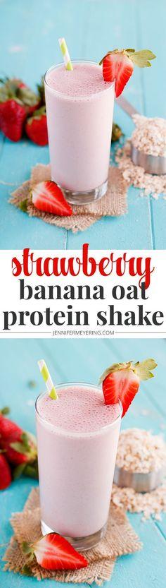 Strawberry Banana Oatmeal Protein Shake - http://JenniferMeyering.com