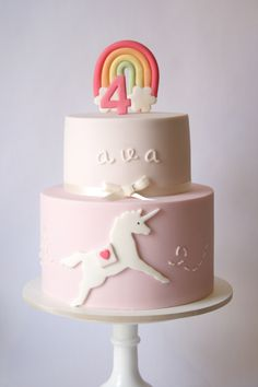 nice and simple -- may choose different colors -- Rainbow Unicorn cake.