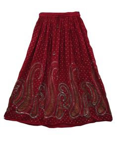 Sequin Maroon Lehenga Print Long Skirt Ankle Bells on the Ends of The Tie String