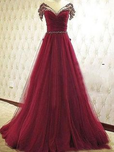 A-line Scoop Floor-length Tulle Sequins Sexy Prom Dress/Evening Dress,HS137 #fashion#promdress#eveningdress#promgowns#cocktaildress