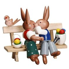 Easter Bunnies Kissing on a Bench | My Growing Traditions
