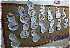 Winter Theme: Paper plate snowmen, vanilla play dough, hibernating bears at the light table....and many more ideas from http://www.teaching2and3yearolds.com
