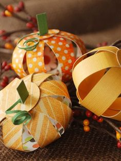These Paper Pumpkins are an adorable centerpiece for an autumn meal.