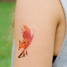 watercolour tattoos, watercolor tattoos, colors, a tattoo, watercolor fox, foxes, tattoo ink, artwork, red fox