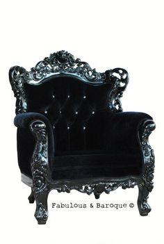 Belle de Fleur Chair - Black French Ornate Modern Baroque & Rococo Furniture www.fabulousandbaroque.com