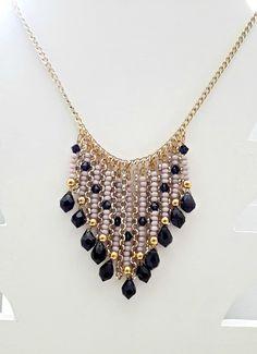 Violet and gold bib necklace
