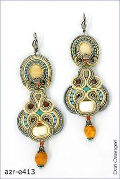 Couture fashion jewelry by Dori Csengeri Soutache Necklace, Tassel Earrings, Soutache Tutorial, Beaded Jewelry, Handmade Jewelry, Wire Jewelry, Victorian Jewelry, Shibori, Beaded Embroidery