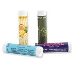 Tropical Lip Balm~ FDA registered & audited. SPF aloe based formula & tamper proof cap. 4-color process imprint label.