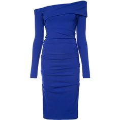 Nicole Miller off-shoulder midi dress ($430) ❤ liked on Polyvore featuring dresses, blue, blue off the shoulder dress, blue long sleeve dress, slimming dresses, off shoulder long sleeve dress and off-shoulder dresses