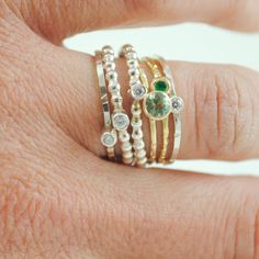 Organic Stacking Rings 2 Tone with Stones by throwingstars