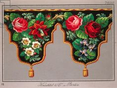Pelmet pattern with violets, fuchsia and hawthorn, 19th century - Knechtel und Co. mit schwarzem Hintergrund