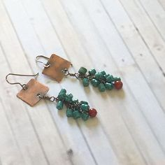Copper turquoise long dangle earrings boho chic everyday