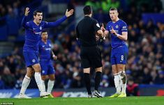 Alvaro Morata and other Chelsea players appeal in protest as the referee Andrew Madley shows Ross Barkley a yellow card Chelsea Players, Nottingham Forest, Paul Pogba, Stamford Bridge, Gareth Bale, Referee, Fa Cup, Chelsea Fc, David Beckham