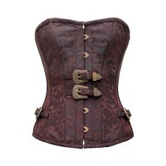 CD-745 - Coffee and Brown Brocade Overbust Corset with Buckles - MADE TO ORDER